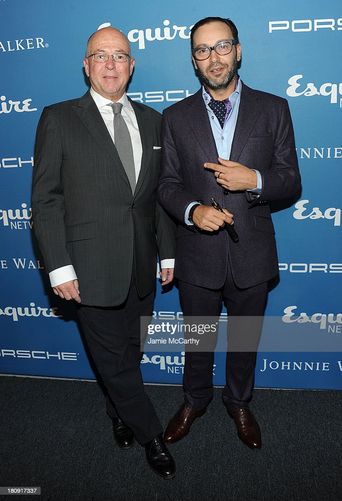 Esquire Editor-in-Chief David Granger (L) and photographer Mark Mann attend the Esquire 80th anniversary and Esquire Network launch celebration at Highline Stages on September 17, 2013 in New York City.