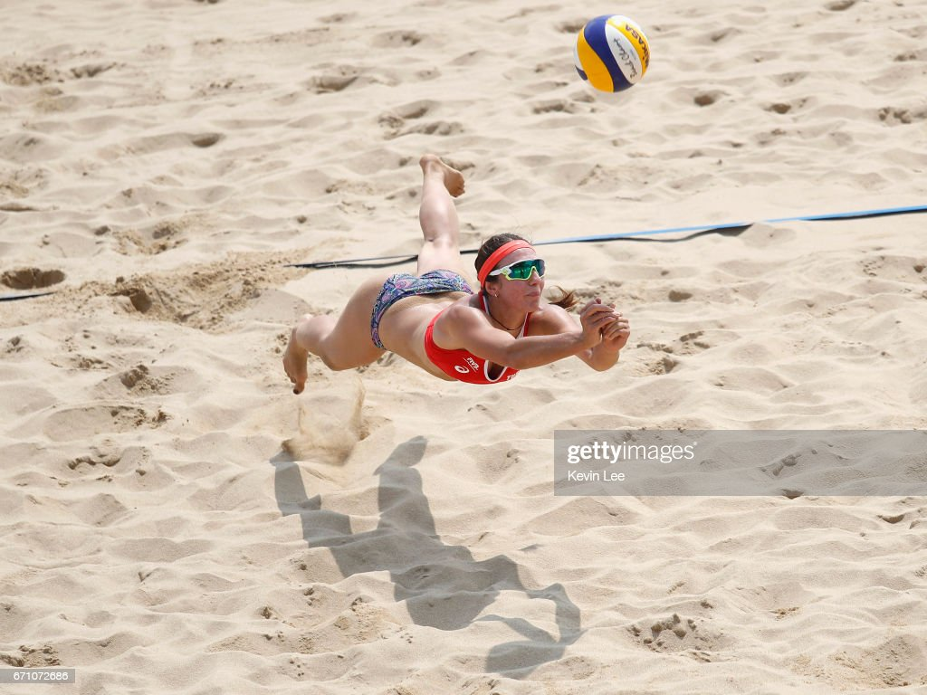 Esra Betul Cetin of Turkey in action at the FIVB Beach Volleyball World Tour Xiamen Open 2017 on April 21, 2017 in Xiamen, China.