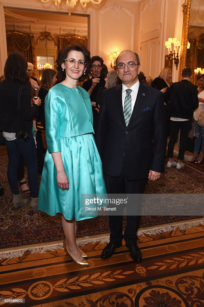 Esra Bilgic and His Excellence Abdurrahman Bilgic attends the Zeynep Kartal catwalk show in support of the Syrian children refugee crisis charity Turk Kizilayi on April 28, 2016 in London, England.