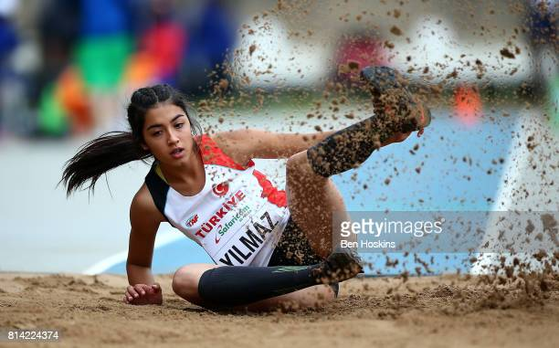 Esra Yilmaz of Turkey in action during qualification for the girls triple jump on day three of the IAAF U18 World Championships at the Kasarani...