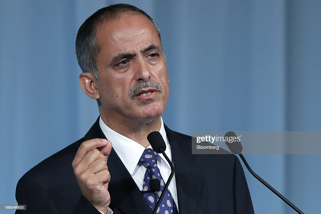 Essa Al Ghurair, vice chairman of Al Ghurair Investment LLC, gestures as he speaks at the 15th Nikkei Global Management Forum in Tokyo, Japan, on Tuesday, Oct. 22, 2013. The forum concludes today. Photographer: Kiyoshi Ota/Bloomberg via Getty Images
