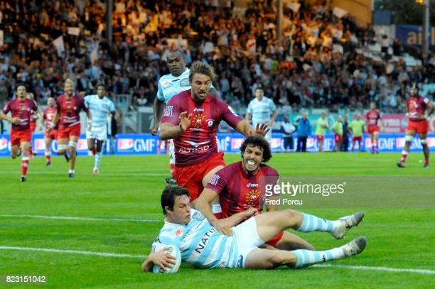 Essai Henry CHAVANCY / Jean Baptiste PEYRAS LOUSTALET Racing Metro 92 / Montpellier 1ere Journee du Top 14 Stade Yves du Manoir Colombes