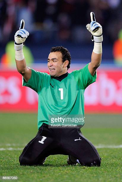 Essam El Hadary goalie of Egypt celebrate the upset win 10 over the World Champion Italy during the FIFA Confederations Cup between Italy and Egypt...