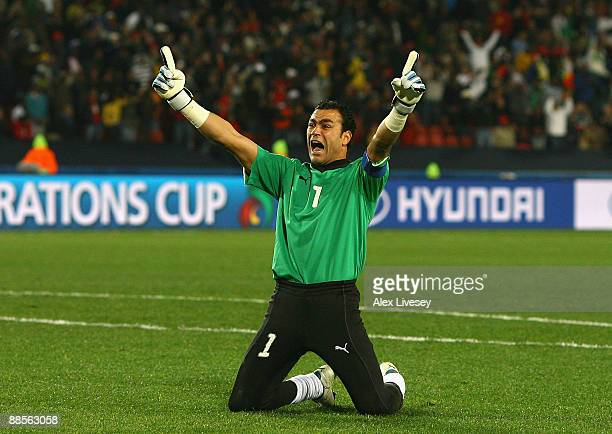 Essam El Hadary of Egypt celebrates after Mohamed Homos scores the opening goal for Egypt during the FIFA Confederations Cup match between Egypt and...