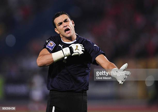 Essam El Hadary of Egypt in animated mood during the FIFA2010 World Cup qualifying match between Egypt and Algeria at the Cairo International Stadium...