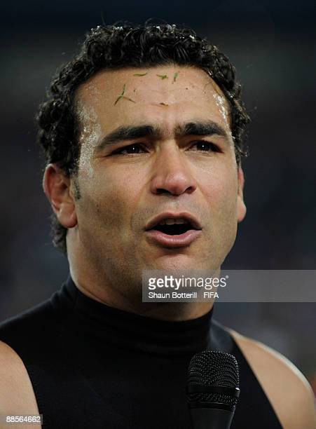 Essam El Hadary the Egypt goalkeeper after the FIFA Confederations Cup match between Egypt and Italy at Ellis Park Stadium on June 18 2009 in...