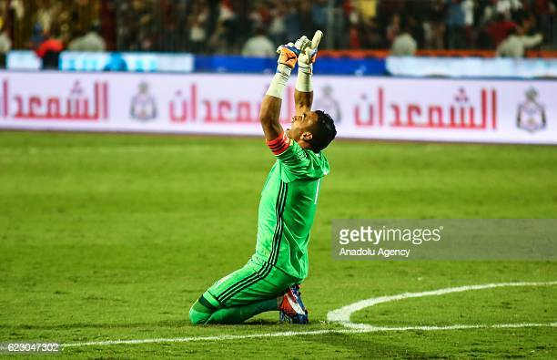 Essam ElHadary of Egypt reacts during the 2018 World Cup Africa qualifying match between Egypt and Ghana at the Borg elArab Stadium in Alexandria...