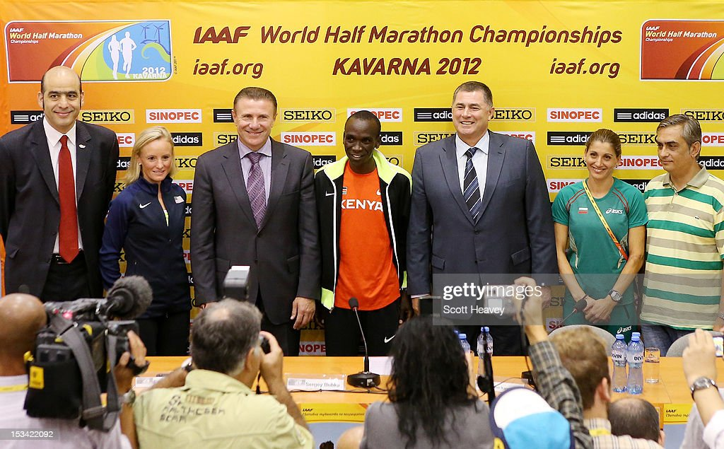 Essar Gabriel, IAAF Genral Secretary, <a gi-track='captionPersonalityLinkClicked' href=/galleries/search?phrase=Shalane+Flanagan&family=editorial&specificpeople=2336331 ng-click='$event.stopPropagation()'>Shalane Flanagan</a> of United States, Sergey Bubka, IAAF Vice President, <a gi-track='captionPersonalityLinkClicked' href=/galleries/search?phrase=Eliud+Kipchoge&family=editorial&specificpeople=586946 ng-click='$event.stopPropagation()'>Eliud Kipchoge</a> of Kenya, Dobromir Karamarinov, President of Bulgarian Athletics Federation and Presdient of LOC, Silviya Danekova of Bulgaria and Tsonko Tsonev, Mayor of Kavarna Municipality and Vice President of LOC during a press conference ahead of the 20th IAAF World Half Marathon on October 5, 2012 in Kavarna, Bulgaria.