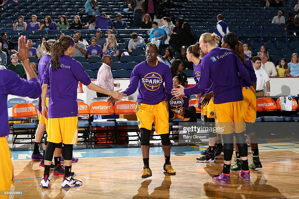 <a gi-track='captionPersonalityLinkClicked' href=/galleries/search?phrase=Essence+Carson&family=editorial&specificpeople=2351517 ng-click='$event.stopPropagation()'>Essence Carson</a> #17 of the Los Angeles Sparks gets introduced before the game against the Chicago Sky on May 24, 2016 at the Allstate Arena in Chicago, Illinois.