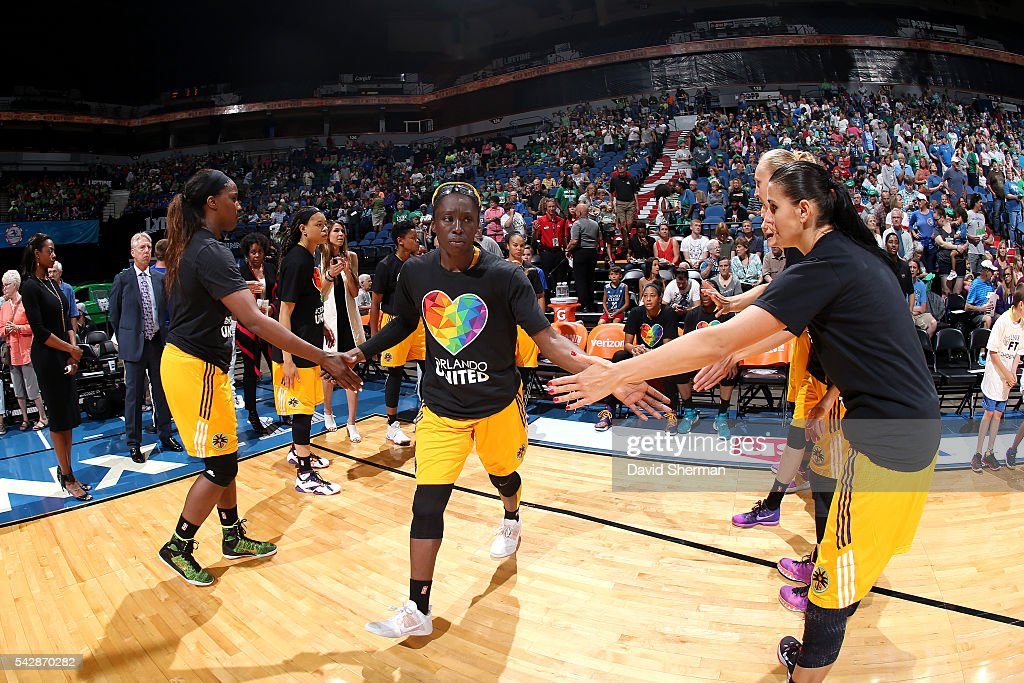 <a gi-track='captionPersonalityLinkClicked' href=/galleries/search?phrase=Essence+Carson&family=editorial&specificpeople=2351517 ng-click='$event.stopPropagation()'>Essence Carson</a> #17 of the Los Angeles Sparks gets introduced before the game against the Minnesota Lynx during the WNBA game on June 24, 2016 at Target Center in Minneapolis, Minnesota.