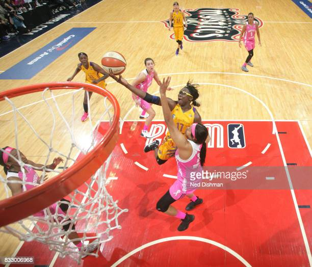 Essence Carson of the Los Angeles Sparks goes for a lay up against the Washington Mystics on August 16 2017 at the Verizon Center in Washington DC...
