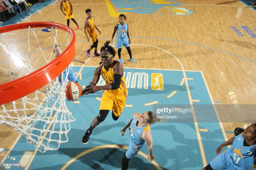 Essence Carson #17 of the Los Angeles Sparks goes for a lay up against the Chicago Sky on August 18, 2017 at Allstate Arena in Rosemont, IL.