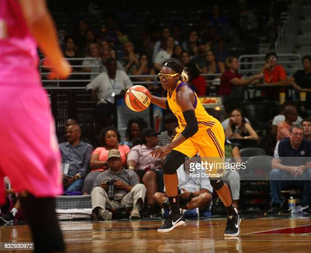 Essence Carson of the Los Angeles Sparks handles the ball against the Washington Mystics on August 16 2017 at the Verizon Center in Washington DC...