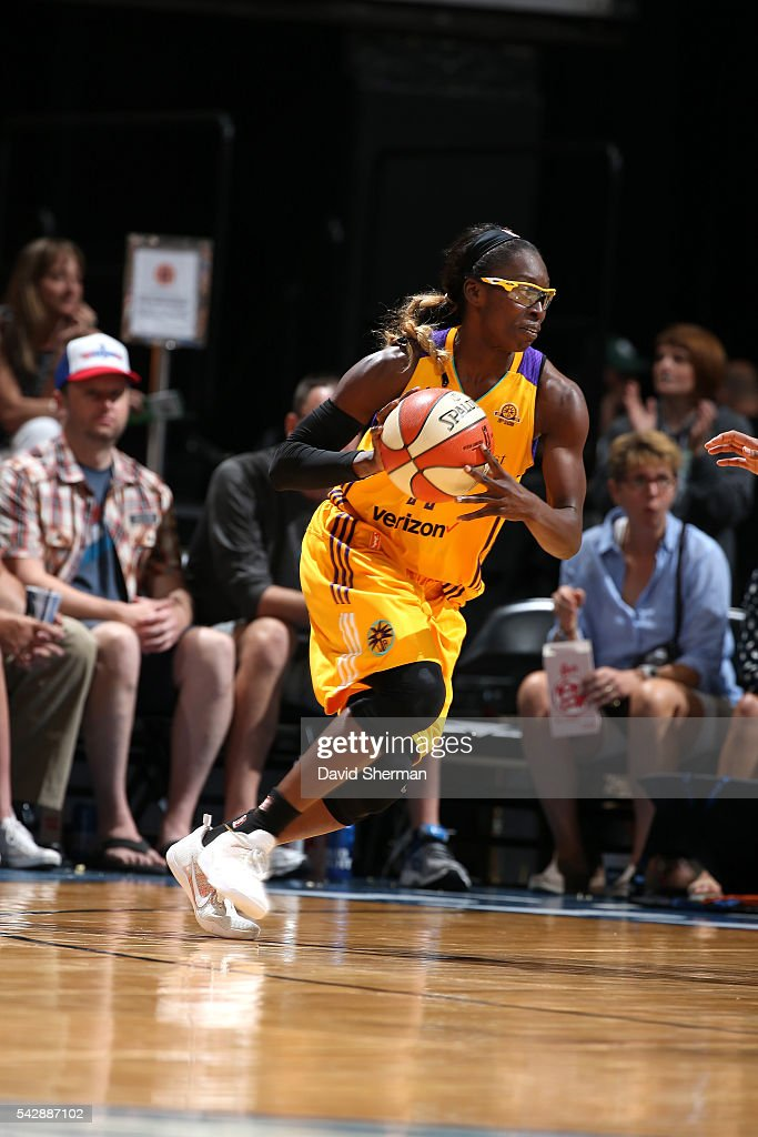 <a gi-track='captionPersonalityLinkClicked' href=/galleries/search?phrase=Essence+Carson&family=editorial&specificpeople=2351517 ng-click='$event.stopPropagation()'>Essence Carson</a> #17 of the Los Angeles Sparks handles the ball during the game against the Minnesota Lynx during the WNBA game on June 24, 2016 at Target Center in Minneapolis, Minnesota.