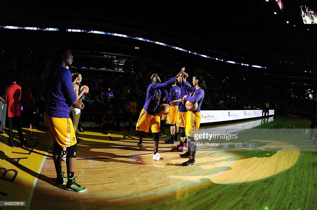 <a gi-track='captionPersonalityLinkClicked' href=/galleries/search?phrase=Essence+Carson&family=editorial&specificpeople=2351517 ng-click='$event.stopPropagation()'>Essence Carson</a> #17 of the Los Angeles Sparks is introduced before the game against the Connecticut Sun on June 26, 2016 at STAPLES Center in Los Angeles, California.