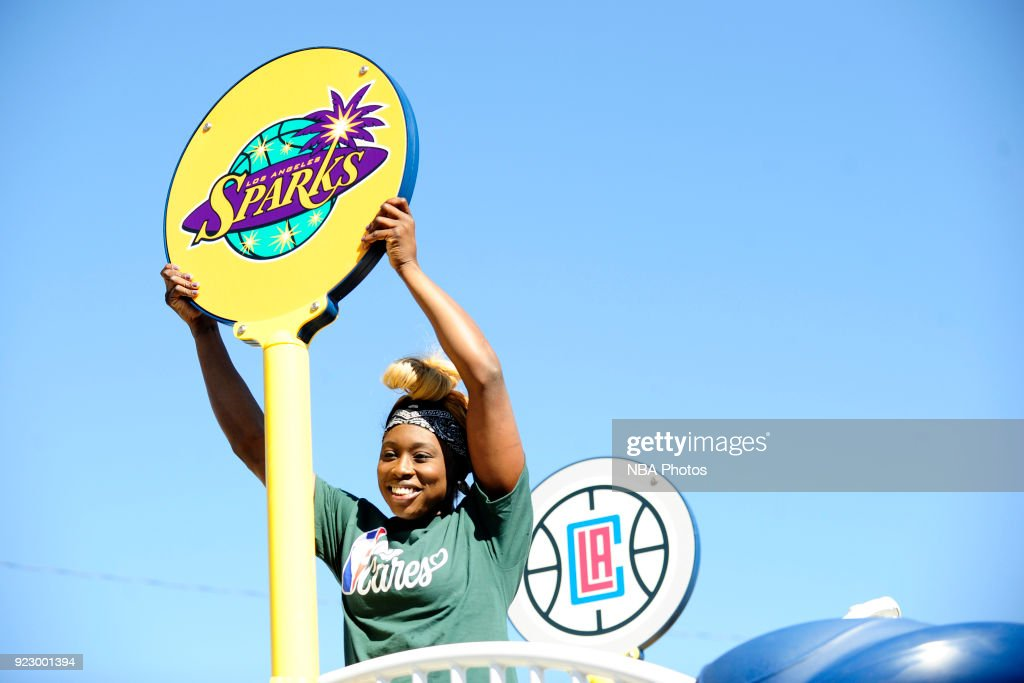 Essence Carson of the Los Angeles Sparks participate with KaBOOM! during NBA Cares All-Star Day of Service as a part of 2018 NBA All-Star Weekend on February 16, 2018 in Compton, California.