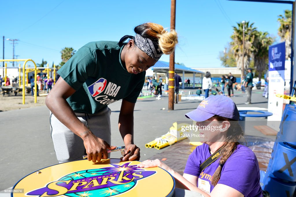 Essence Carson of the Los Angeles Sparks participates with KaBOOM! during NBA Cares All-Star Day of Service as a part of 2018 NBA All-Star Weekend on February 16, 2018 in Compton, California.