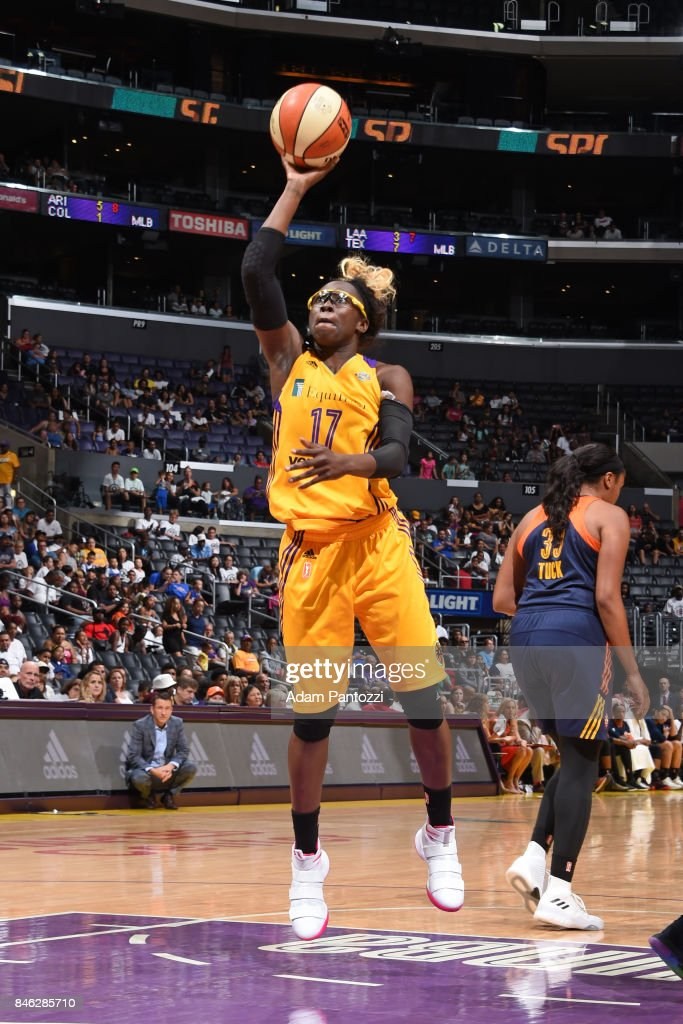 Essence Carson #17 of the Los Angeles Sparks shoots the ball during the game against the Connecticut Sun on September 3, 2017 at STAPLES Center in Los Angeles, California.