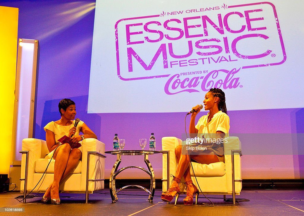 Essence magazine EditorinChief Angela BurtMurray and actress Jada Pinkett Smith speaking at the convention center at the 2010 Essence Music Festival...