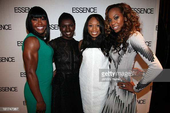 Essence Magazine EditorInChief Constance CR White poses with Olympic Gold Medalists Carmelita Jeter Allyson Felix and Sanya RichardsRoss at the...