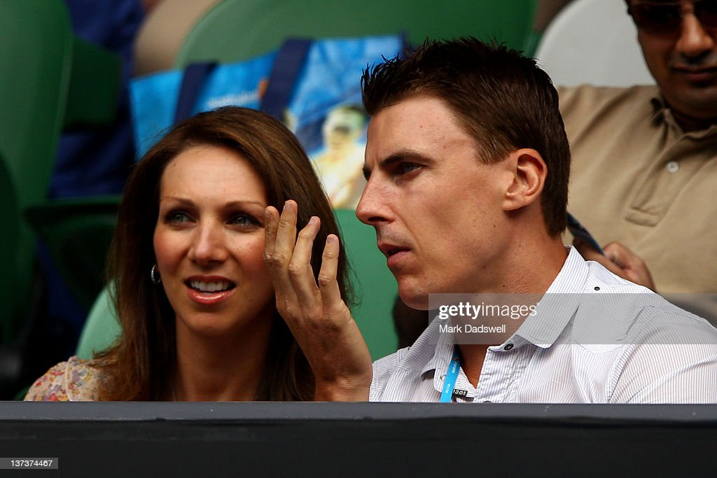 Essendon AFL player <a gi-track='captionPersonalityLinkClicked' href=/galleries/search?phrase=Matthew+Lloyd&family=editorial&specificpeople=171673 ng-click='$event.stopPropagation()'>Matthew Lloyd</a> watches the third round match between Rafael Nadal of Spain and Lukas Lacko of Slovakia during day five of the 2012 Australian Open at Melbourne Park on January 20, 2012 in Melbourne, Australia.