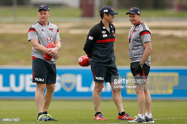 Essendon assistant coaches Guy Mckenna and Mark Harvey are seen with senior coach John Worsfold during an Essendon Bombers AFL preseason training...
