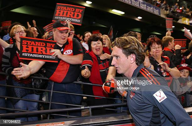 Essendon Bomber fans show their support for coach James Hird after the round four AFL match between the St Kilda Saints and the Essendon Bombers at...