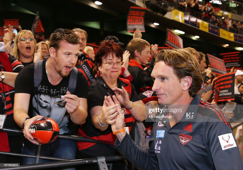 Essendon Bomber fans show their support for coach <a gi-track='captionPersonalityLinkClicked' href=/galleries/search?phrase=James+Hird&family=editorial&specificpeople=201975 ng-click='$event.stopPropagation()'>James Hird</a> after the round four AFL match between the St Kilda Saints and the Essendon Bombers at Etihad Stadium on April 20, 2013 in Melbourne, Australia.
