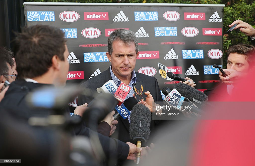 Essendon Bombers AFL CEO Ian Robson talks to the media during a press conference at Windy Hill on May 22, 2013 in Melbourne, Australia. Essendon footballer Nathan Lovett-Murray was stabbed in the arm last night, allegedly after becoming involved in a domestic dispute.