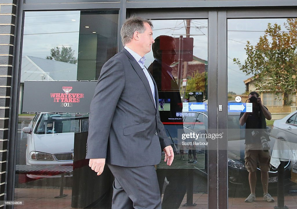 Essendon Bombers AFL CEO Ian Robson walks back to his office after speaking to the media during a press conference at Windy Hill on May 22, 2013 in Melbourne, Australia. Essendon footballer Nathan Lovett-Murray was stabbed in the arm last night, allegedly after becoming involved in a domestic dispute.