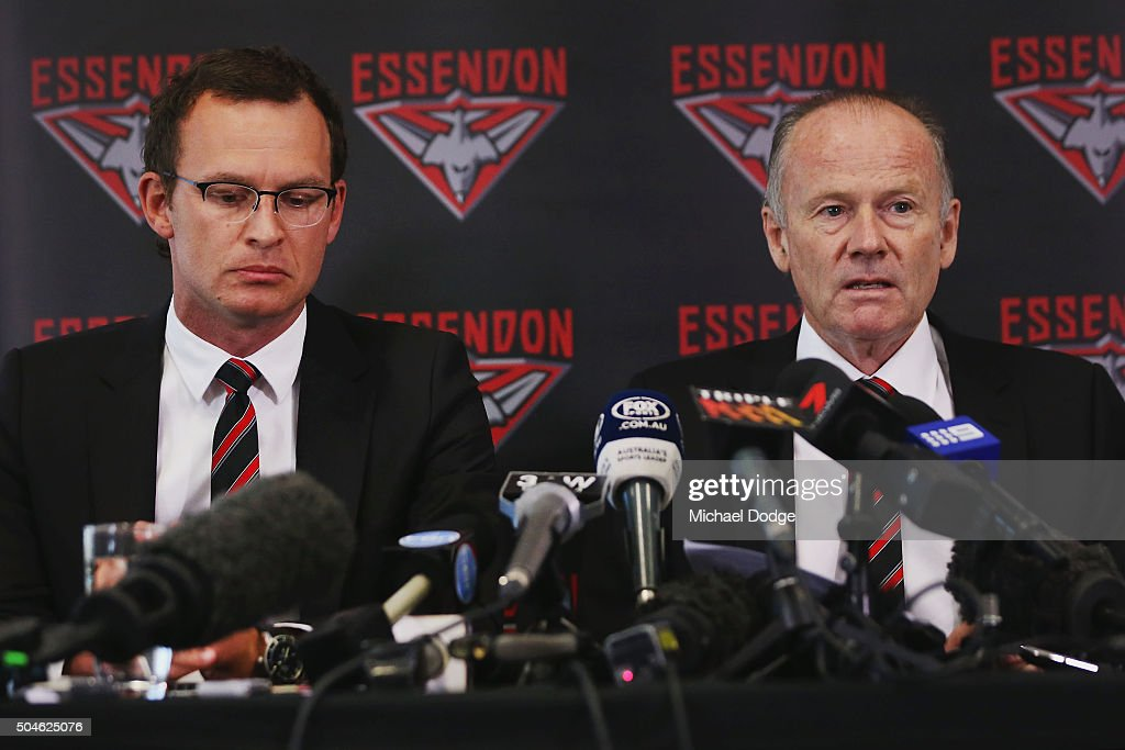 Essendon Bombers CEO Xavier Campbell and Chairman Lindsay Tanner speak to media at a press conference at the True Value Solar Centre on January 12...