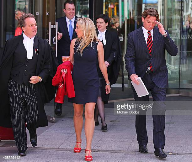 Essendon Bombers coach James Hird and wife Tania Hird leave the Melbourne Federal Court on November 10 2014 in Melbourne Australia Essendon...