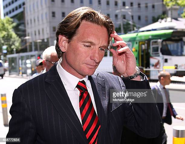 Essendon Bombers coach James Hird leaves Melbourne Federal Court on November 11 2014 in Melbourne Australia Essendon challenged the joint AFLASADA...