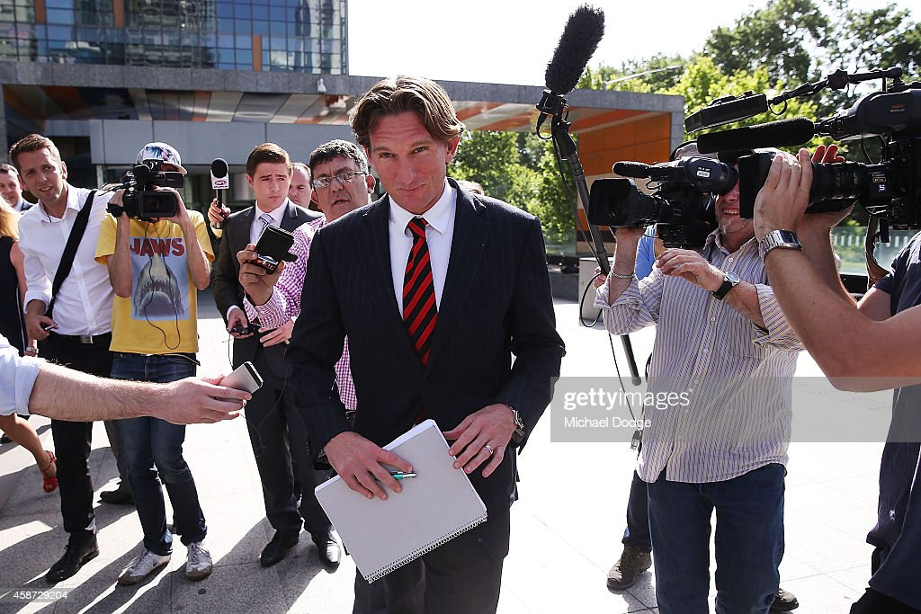 Essendon Bombers coach James Hird leaves the Melbourne Federal Court on November 10 2014 in Melbourne Australia Essendon challenged the joint...