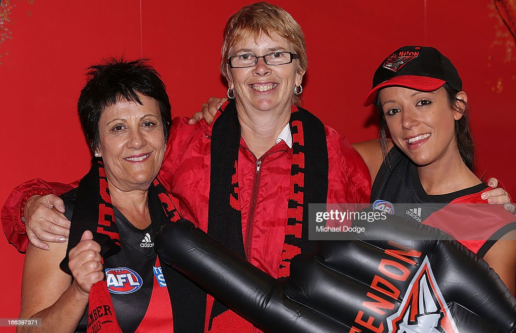 Essendon Bombers fans show their support during the round three AFL match between the Fremantle Dockers and the Essendon Bombers at Patersons Stadium on April 12, 2013 in Perth, Australia.