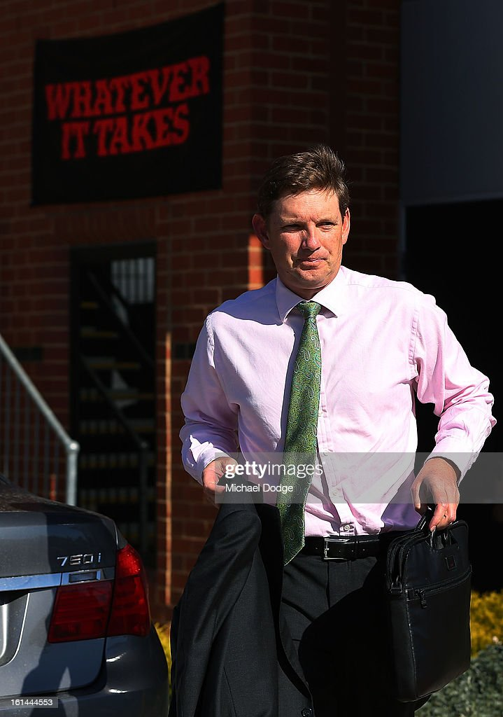 Essendon Chairman David Evans arrives ahead of a meeting between Essendon Bombers AFL staff, players and families at Windy Hill on February 11, 2013 in Melbourne, Australia.