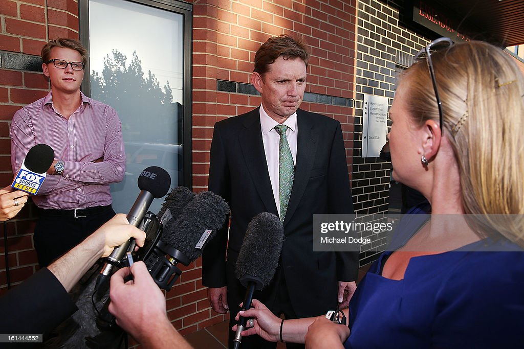 Essendon Chairman David Evans talks to the media after a meeting between Essendon Bombers AFL staff, players and families at Windy Hill on February 11, 2013 in Melbourne, Australia.
