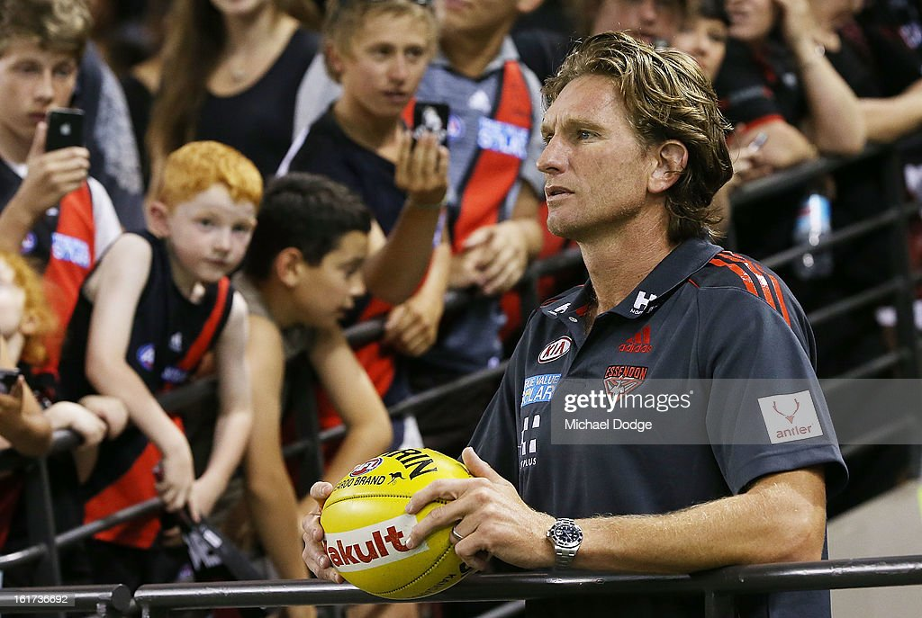 Essendon coach <a gi-track='captionPersonalityLinkClicked' href=/galleries/search?phrase=James+Hird&family=editorial&specificpeople=201975 ng-click='$event.stopPropagation()'>James Hird</a> looks ahead during the round one AFL NAB Cup match between the Collingwood Magpies and the Essendon Bombers at Etihad Stadium on February 15, 2013 in Melbourne, Australia.