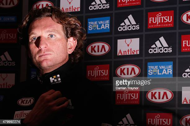 Essendon coach James Hird speaks to media during the Clash for Cancer Launch at True Value Solar Centre on July 9 2015 in Melbourne Australia