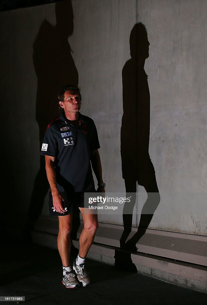 Essendon coach <a gi-track='captionPersonalityLinkClicked' href=/galleries/search?phrase=James+Hird&family=editorial&specificpeople=201975 ng-click='$event.stopPropagation()'>James Hird</a> walks out for the round one AFL NAB Cup match between the Collingwood Magpies and the Essendon Bombers at Etihad Stadium on February 15, 2013 in Melbourne, Australia.
