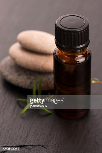 Essential oil with rosemary and fresh green leaves : Stock Photo
