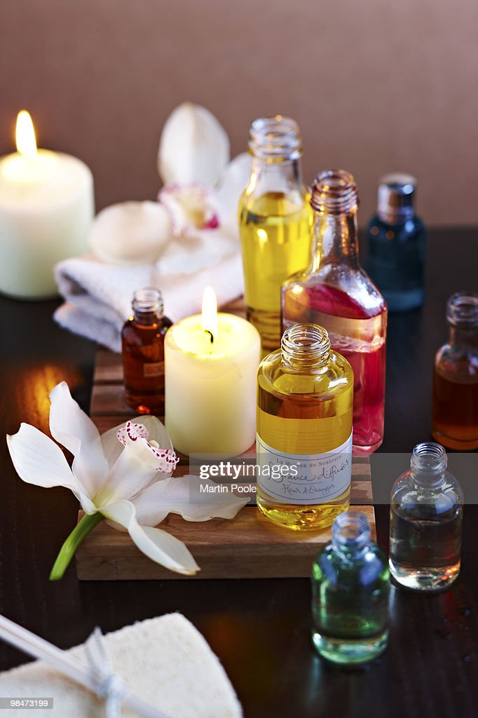 essential oils in spa on table : Stock Photo