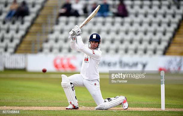 Essex batsman Alastair Cook drives to the boundary during day two of the Specsavers County Championship Division Two match between Worcestershire and...