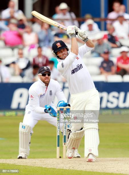 Essex Batsman Ben Foakes hits out during day two of the International Warm up match at The County Ground Chelmsford