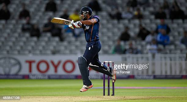 Essex batsman Ravi Bopara cuts a ball to the boundary during the NatWest T20 Blast quarter final match between Birmingham Bears and Essex Eagles at...