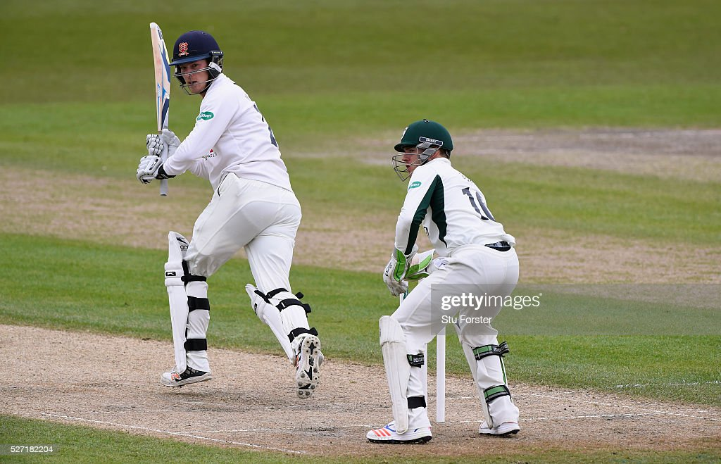 Essex batsman Tom Westley picks up some runs during his century watched by Ben Cox on day two of the Specsavers County Championship Division Two match between Worcestershire and Essex at New Road on May 2, 2016 in Worcester, England.