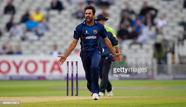 Essex bowler Ravi Bopara celebrates after dismissing Bears batsman Varun Chopra picks up some runs during the NatWest T20 Blast quarter final match...