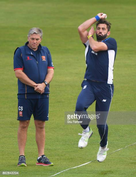 Essex coach Chris Silverwood watches Liam Plunkett of England bowl in the warm up prior to the 3rd Royal London One Day International match between...