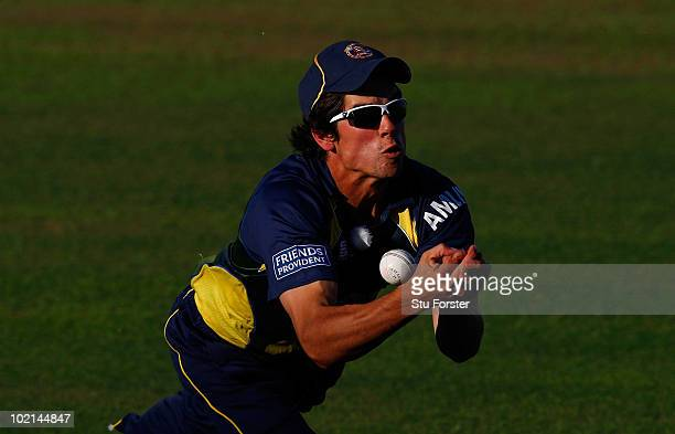 Essex fielder Alastair Cook drops a catch during the Friends Provident T20 match between Somerset and Essex at the County Ground on June 16 2010 in...