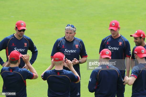 Essex head coach Chris Silverwood leads the team brief prior to the Royal London OneDay Cup between Kent and Essex at the Spitfire Ground on May 17...